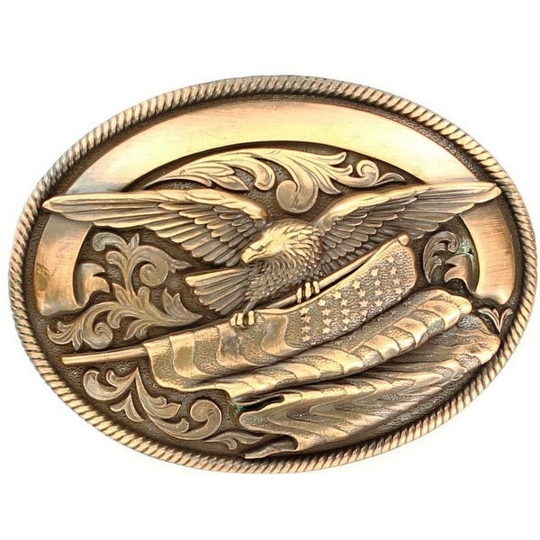 Nocona Western Belt Buckle Oval Eagle Flag Ribbon Roped Gold - 3 1/4 x 4