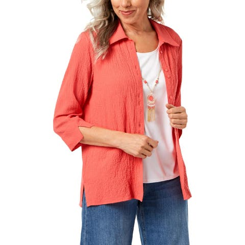 Alfred Dunner Womens Petites Button-Down Top Gauze Layered - PM