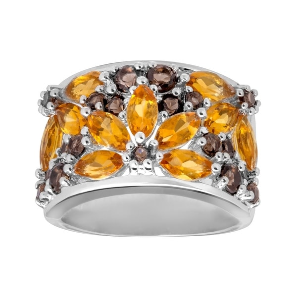 2 1/10 ct Citrine & Smoky Quartz Flower Ring in Sterling Silver - Size 7 - Yellow