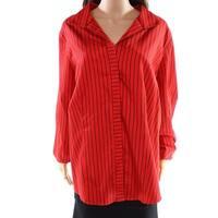 Foxcroft Red Women's Size 16W Plus Two-Tone Stripe Button Up Shirt