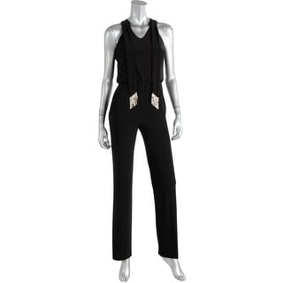 Laundry by Shelli Segal Womens Embellished Neck Tie Sleeveless Jumpsuit