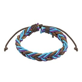 Brown with Blue and Purple Braided Leather Bracelet with Drawstrings (10 mm) - 7.5 in