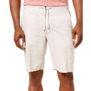 Cubavera Natural Beige Mens Size Large L Linen Drawstring Shorts
