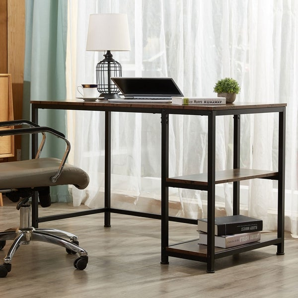 """CO-Z 47.2"""" Home Office Computer Desk with Wooden Storage Shelves. Opens flyout."""