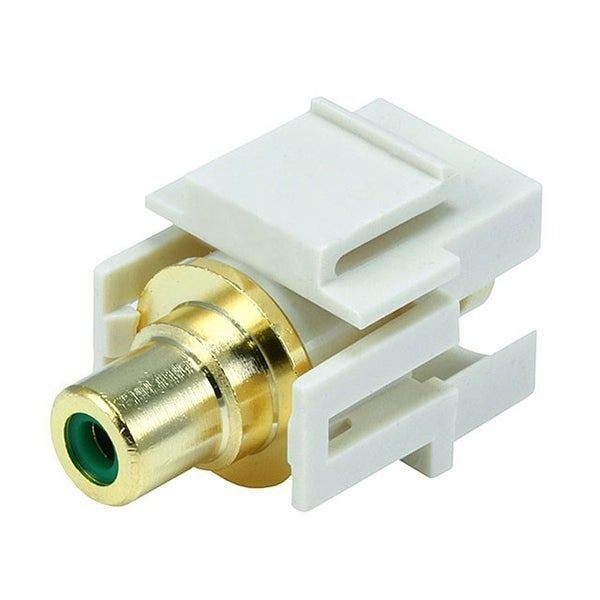 Monoprice Modular RCA Coupler Keystone Jack w/Green Center, Flush Type - Ivory