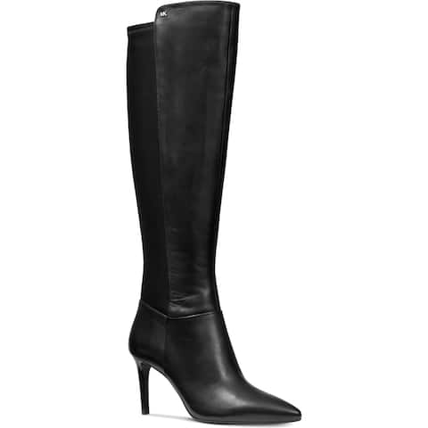 MICHAEL Michael Kors Womens Dorothy Over-The-Knee Boots Leather Stilettos - Black