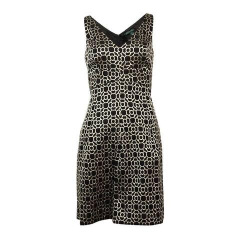 Lauren Ralph Lauren Women's Sleeveless Metallic Jacquard Dress - Black/Gold
