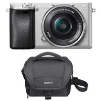 "Sony Alpha a6300 Mirrorless Camera (Silver) with 3"" LCD and Carrying Case"