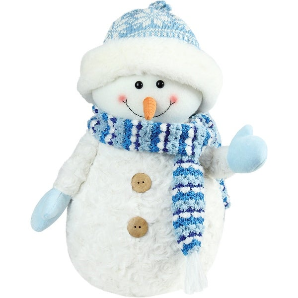 """12.5"""" Arctic Blue and White Snowman Wearing Trapper Hat Christmas Decoration"""