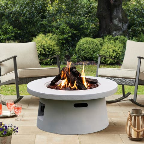 Outdoor 50000 BTU White Finish Round Fire Pit with Tank Outside - 29.5*29.5*14INCH