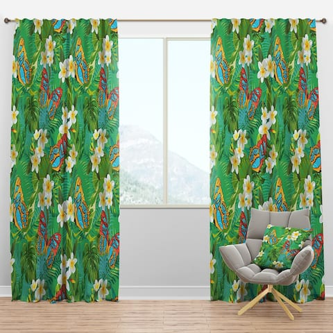Designart 'Tropical Pattern with Flowers & Butterflies' Tropical Blackout Curtain Panel
