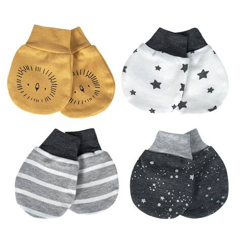 Just Born® Baby Boys' 4-Pack Organic Lil' Lion Mittens