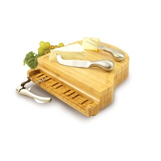 Picnic Time 900-00-505 Piano Cheese Cutting Board with Cheese Tools & Corkscrew