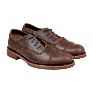 CAT Sawyer Mens Brown Leather Casual Dress Lace Up Oxfords Shoes