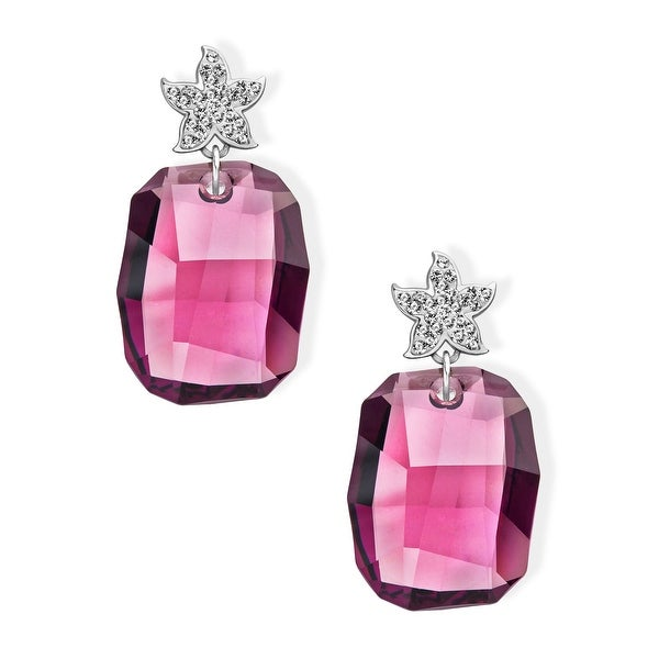 Aya Azrielant Drop Earrings with Swarovski Crystals in Sterling Silver - Rose