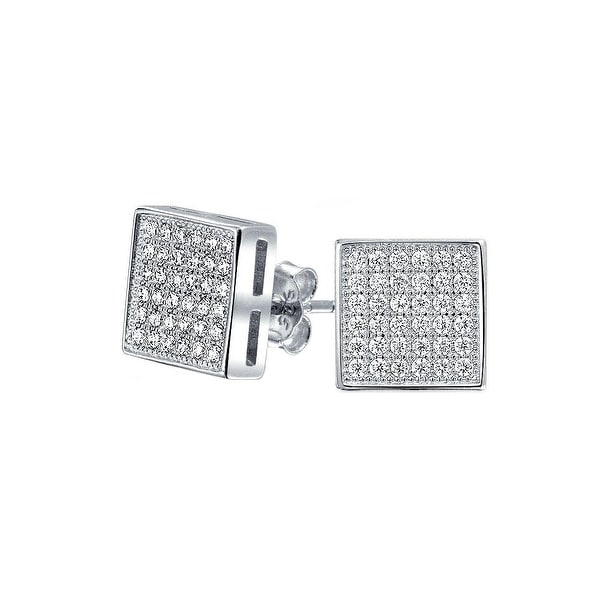 bc278e335 Geometric Square Shaped Cubic Zirconia Micro Pave CZ Stud Earrings For Men  For Women 925 Sterling