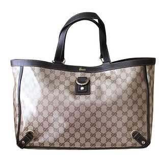 "Gucci Brown Crystal GG Canvas Leather D-Ring Tote Bag - Brown/Beige - 16"" l x 11"" h x 4.5"" w"