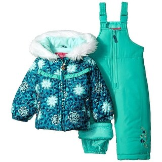 London Fog Girls 12-24 Months Floral Puffer Jacket Snowsuit - Pink