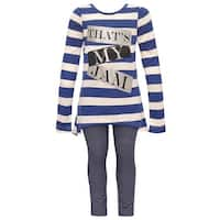 "Dreamstar Little Girls Navy Stripe ""That's My Jam"" 2 Pc Legging Set"