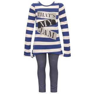 """Dreamstar Little Girls Navy Stripe """"That's My Jam"""" 2 Pc Legging Set"""
