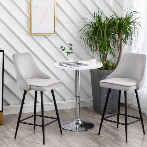 Zahra Premium Tufted Upholstered Dining Bar Stool (Set of 2)