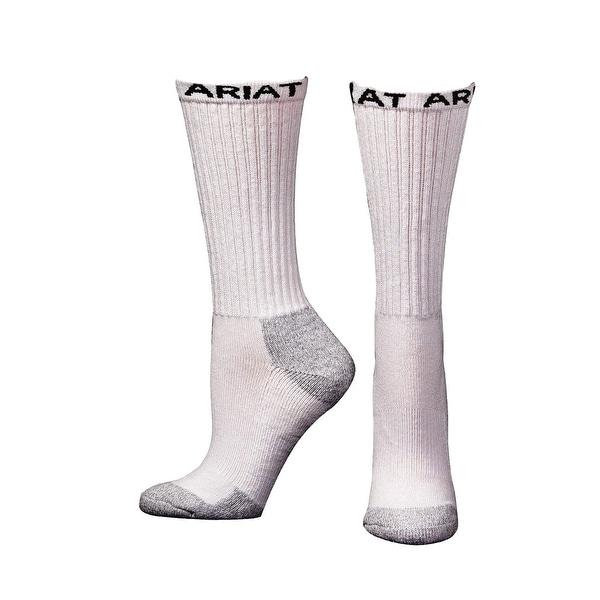 Ariat Socks Mens Mid Calf Cotton Performance Work 3 Pk White
