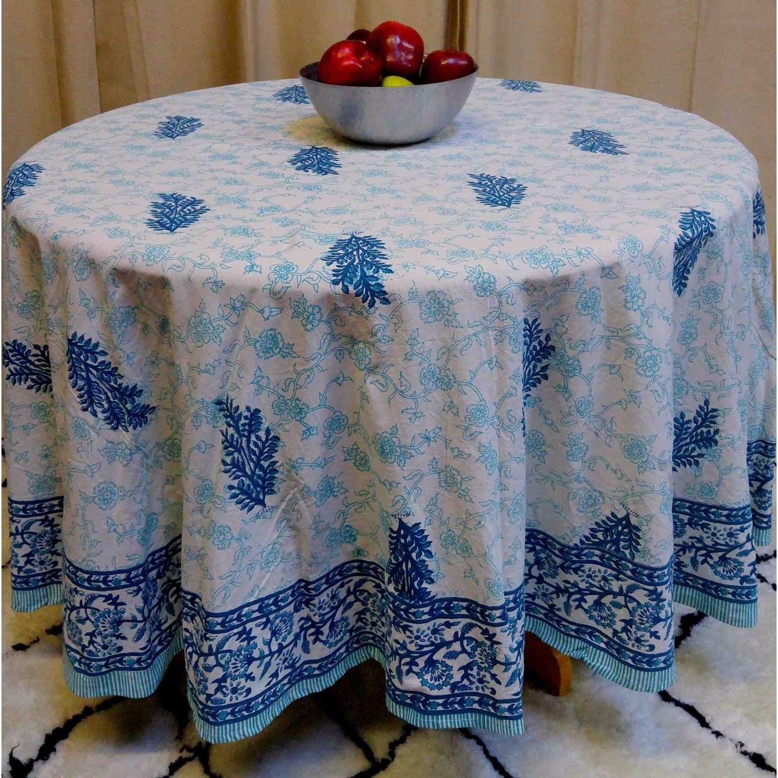 "Handmade 100% Cotton Floral Tablecloth 90"" Round Teal Aqua - Thumbnail 0"