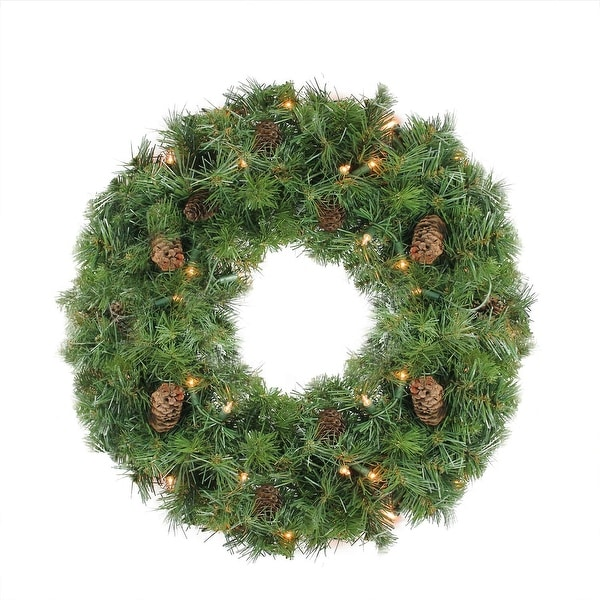 "24"" Pre-Lit Dakota Red Pine Artificial Christmas Wreath - Clear Dura Lights - green"