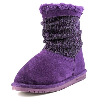 Bearpaw Donna Youth Youth Round Toe Suede Purple Winter Boot