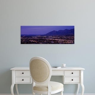 Easy Art Prints Panoramic Image 'Aerial view of a city at night, Tucson, Pima County, Arizona, USA' Premium Canvas Art