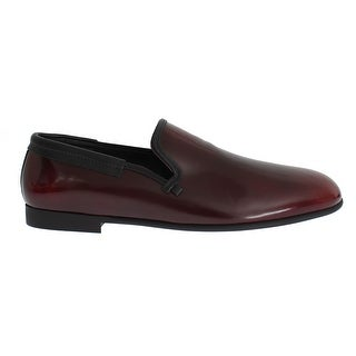 Dolce & Gabbana Bordeaux Patent Leather Dress Loafers - 39.5