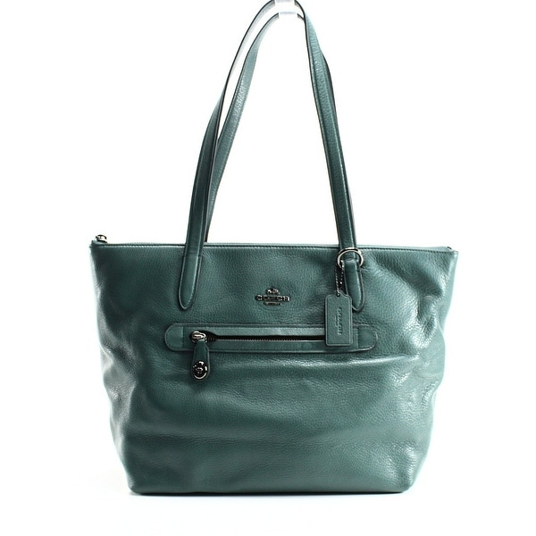708f9118e6a Shop Coach NEW Green Dark Turquoise Pebble Leather Taylor Tote Bag ...