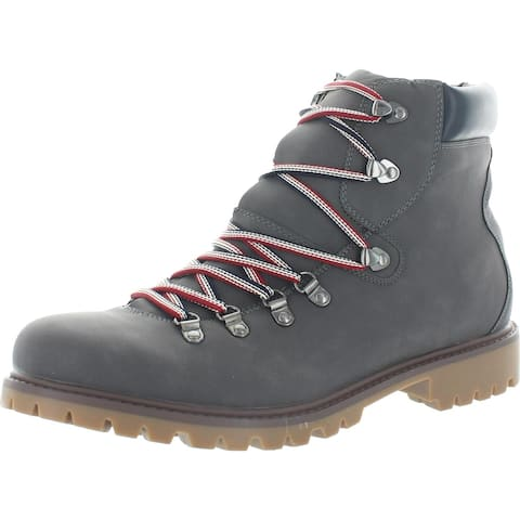 Tommy Hilfiger Mens Jeckel Lace-Up Boot Faux Leather Ankle - Gray - 13 Medium (D)