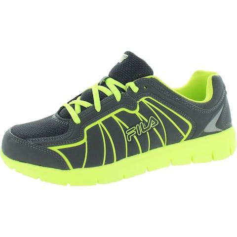 Fila Boys Escalight Running Shoes Faux Leather Sneakers - Castlerock/Neon Green/Black - 7 Medium (D) Big Kid