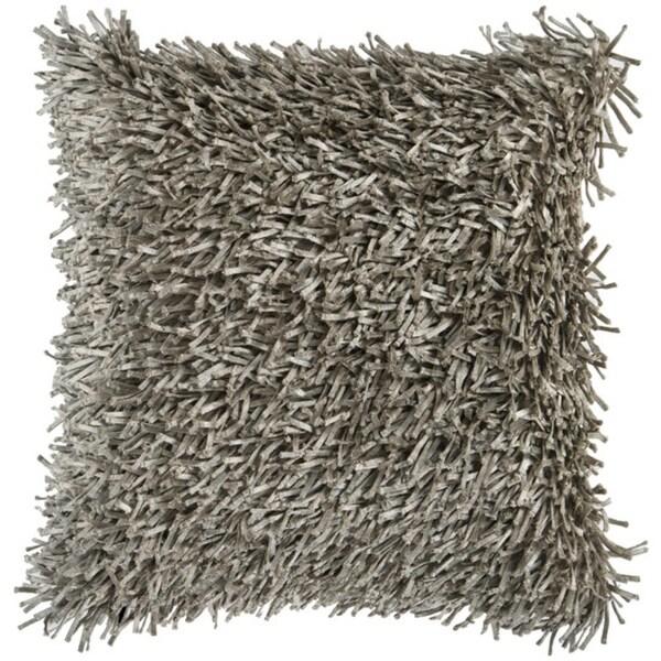 "18"" Cobblestone Gray Retro Shag Decorative Down Throw Pillow"