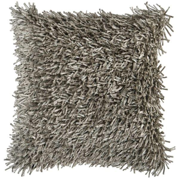 "22"" Cobblestone Gray Retro Shag Decorative Throw Pillow"