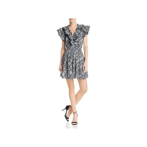 REBECCA TAYLOR Gray Bell Sleeve Short Dress XS