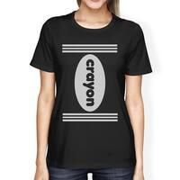 Crayon Womens Black Graphic T-Shirt Round Neck Halloween Tee Shirt