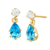 1 1/5 ct Natural Swiss Blue & White Topaz Drop Earrings in 10K Gold
