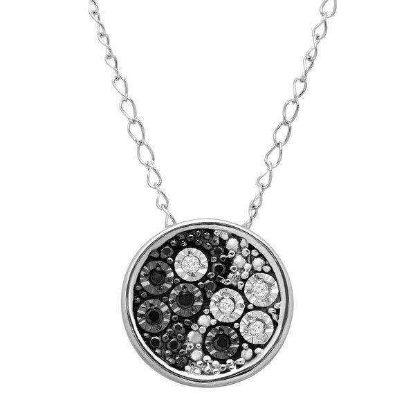 Teeny Tiny Yin & Yang Pendant with Black & White Diamonds  in Sterling Silver