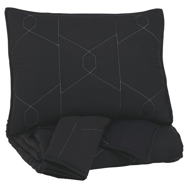 Geometrically stitched Full Size Fabric Comforter set with 2 Shams, Black. Opens flyout.