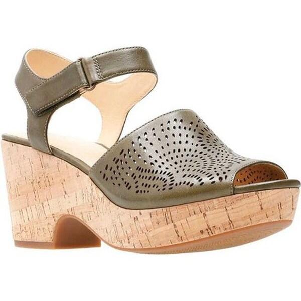1b7f23336e3 Clarks Women  x27 s Maritsa Nila Wedge Sandal Khaki Full Grain Leather