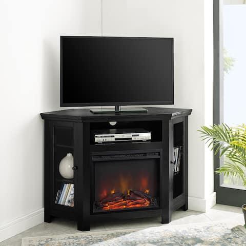 48-inch Corner 2-door Fireplace TV Stand Console - Black