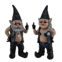 Gnoschitt & Gnofun the Naughty Biker Gnomes Statue Motorcycle Leather 13 Inch