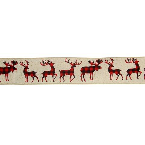 "Burlap Buffalo Plaid Reindeer Christmas Wired Craft Ribbon 2.5"" x 16 Yards"