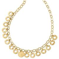 Italian Sterling Silver Gold-tone Circles with 2in ext. Necklace - 16 inches