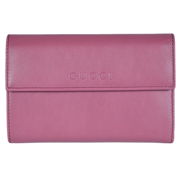 Gucci Women's 346057 Peonia Pink Leather French Wallet W/Coin Pocket