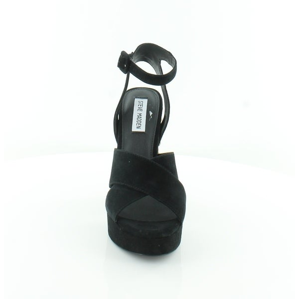 Steve Madden Womens Jodi P Leather Open Toe Ankle Strap Platform Pumps
