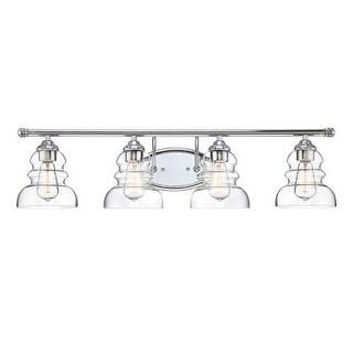 "Millennium Lighting 7334 Brighton 4 Light 33"" Wide Bathroom Vanity Light with Glass Shades"