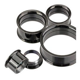 Blackline Titanium Anodized Over Surgical Steel Double Flared Screw-Fit Tunnel Plug (Sold Individually)